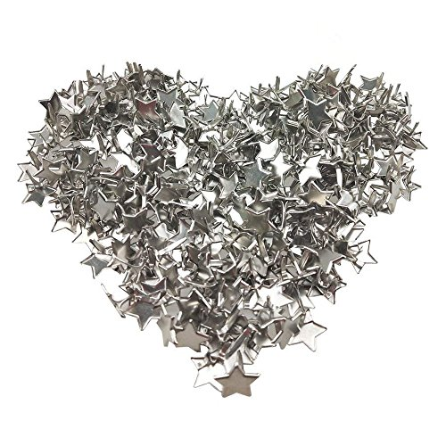 300PCS Craft Star Shaped Metal Brads Nails for DIY Paper Scrapbooking Embellishment, Silver by CSPRING by CSPRING