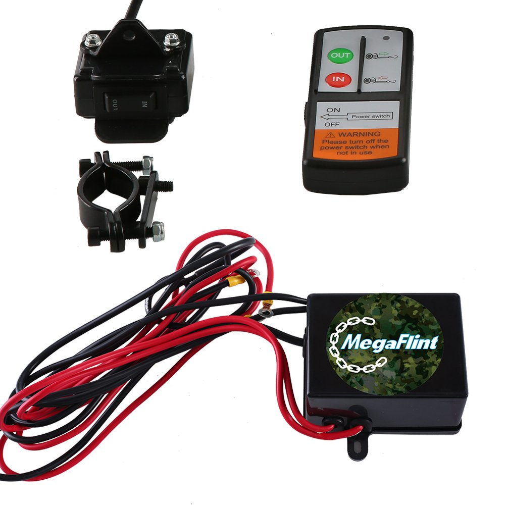 Megaflint 3500lb Atv Winch Utv 12v Electric 3500 Lb Badland Wiring Diagram 1591kg Off Road Kit A Recovery Truck Suv Wireless Remote Controller Home Improvement