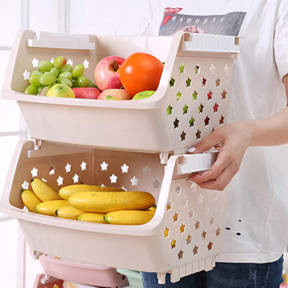 Gray-Blue, 3 - Tier BIQIB 3 to 4 Tier Countertop Fruit Basket Storage Racks Storage Cubes W//Wheels and Lid