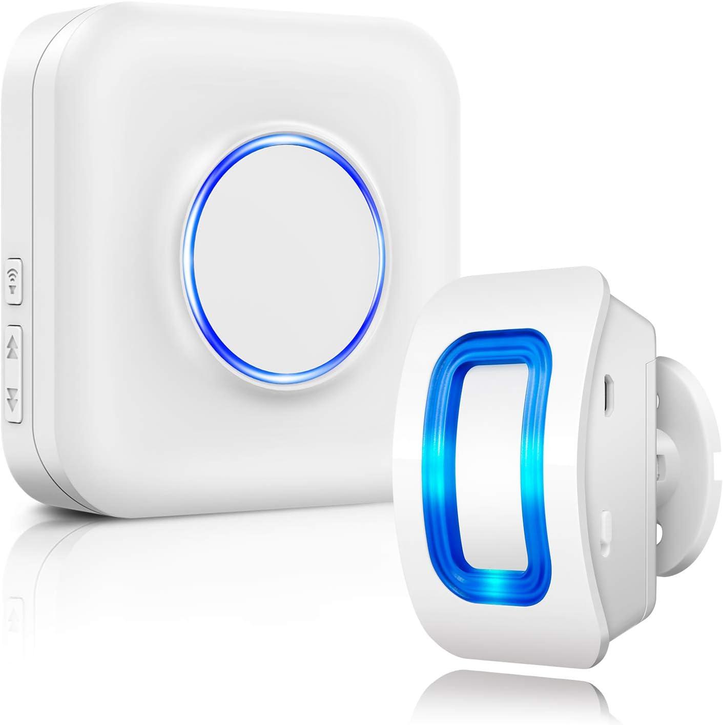 Sistema de Alarma de Seguridad inalámbrica con Detector de Movimiento, 1 Detector de Movimiento y 1 Receptor de Enchufe, 58 Tonos de Campana, indicador LED para Familia, casa y Tienda, Garaje