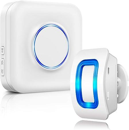 PIR Capteur avec LED Bleue Distance /à 100 M/ètres R/ésistant aux Intemp/éries et Pluie 1byone Sir/ène D/étecteurs de Mouvement Infrarouge-Sensor Alarme sans Fil 1 Capteur et 1 R/écepteur Batterie Charg/ée