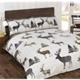 STAG TREE PLAID CHECK BROWN BEIGE CANADIAN QUEEN SIZE (230CM X 220CM - UK KING SIZE) COTTON BLEND REVERSIBLE DUVET COMFORTER COVER