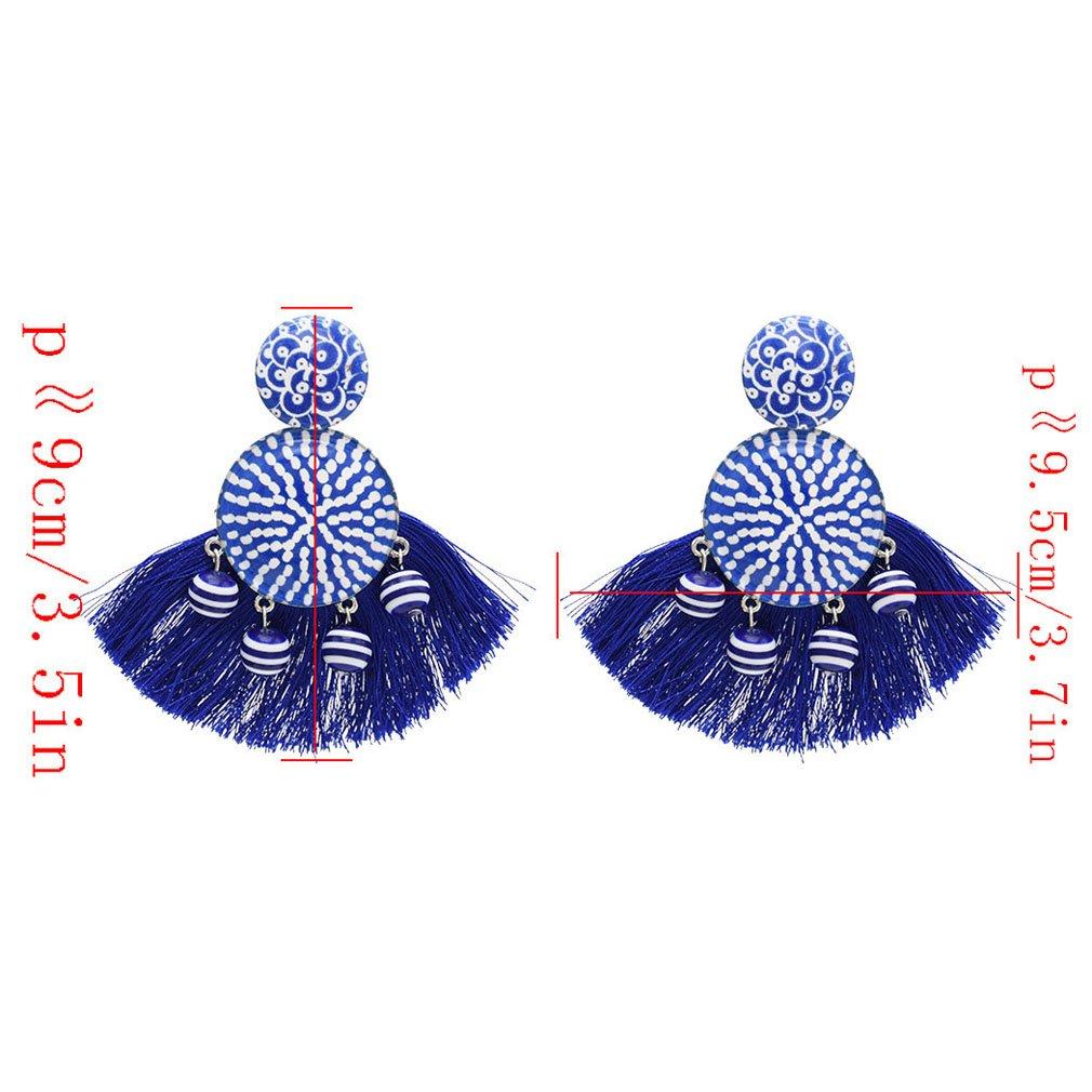 Jinxian Tassels Rope Drop Earrings Vintage Boho Dangling Studs Hook