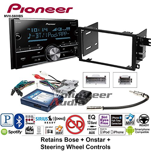 Volunteer Audio Pioneer MVH-S600BS Double Din Radio Install Kit with Bluetooth USB/AUX Fits 2003-2005 Chevrolet Blazer, 2003-2006 Silverado, Suburban (Bose, Onstar, SWC) - Cavalier Radio Install Kit