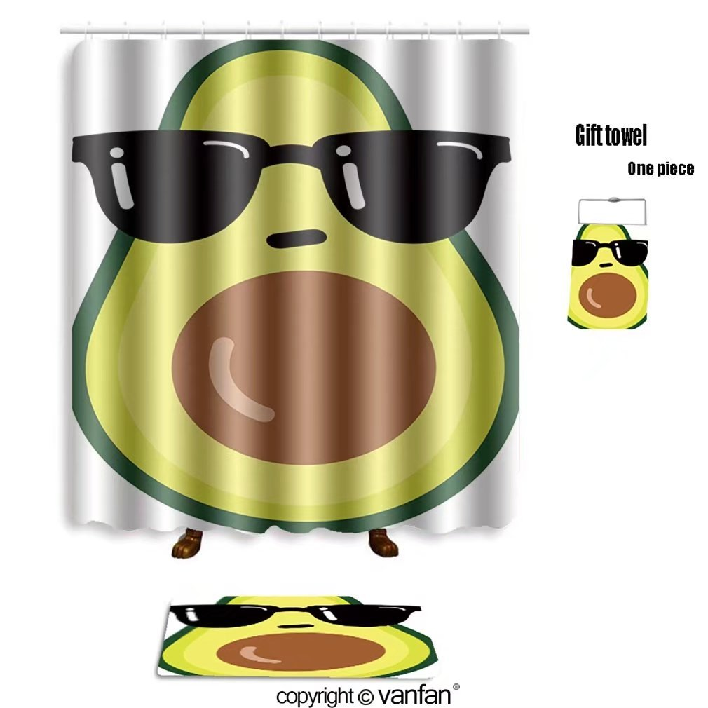 vanfan bath sets with Polyester rugs and shower curtain illustration cartoon funny avocado icon with shower curtains sets bathroom 66 x 72 inches&23.6 x 15.7 inches(Free 1 towel and 12 hooks)