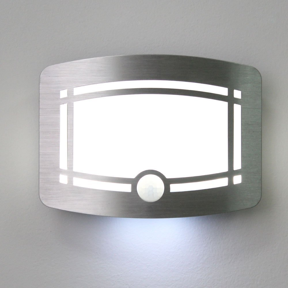 aceboxLuxury Aluminum Case Wireless Stick Anywhere Bright Motion Sensor Activated LED Wall Sconce Night Light, Auto On/Off, Aluminum, Battery Powered for Hallway, Pathway, Staircase, Garden, Yard, Wall, Drive Way