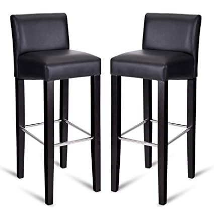 Surprising Amazon Com Fdinspiration Black 2Pcs Backrest Bar Stool Pvc Ncnpc Chair Design For Home Ncnpcorg