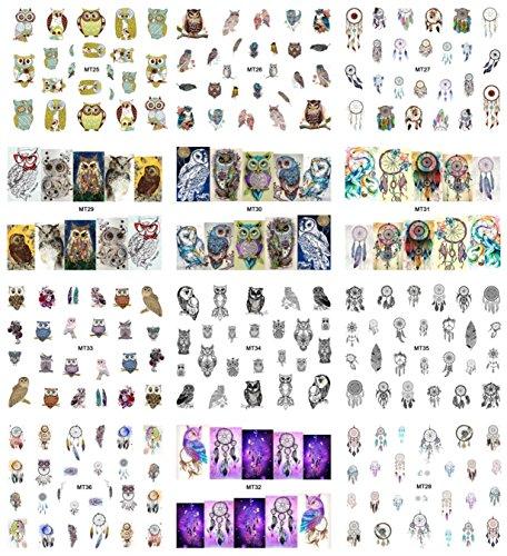 12 Sheet Mix Owl Dream Catcher Nail Art Sticker Water Transfer Nails Wrap Paint Tattoos Stamping Plates Templates Tools Tips Kits Grand Popular Xmas Winter Snow Holiday Stick Tool Vinyls (Disney Mix Stick Princess)