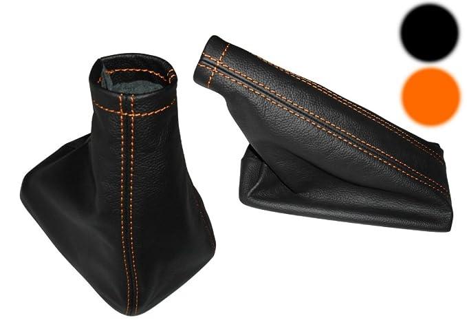 Aerzetix Aerzetix Satz Schaltsack Handbremssack Schwarze Farbe 100/% Leder wei/ßen N/ähten