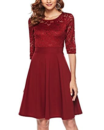 2779fd89c9a7a Women s Vintage Floral Lace Cocktail Party Swing Dress with 3 4 Sleeves