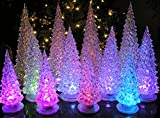 "LED Lighted Acrylic Christmas Trees Holiday Decoration Set of 12 Assorted Sizes 10"", 7.5"" & 5.5""H"
