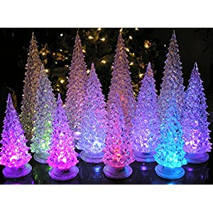 "BANBERRY DESIGNS LED Lighted Acrylic Christmas Trees Holiday Decoration Set of Assorted Sizes 10"", 7.5"" & 5.5"" H 109"
