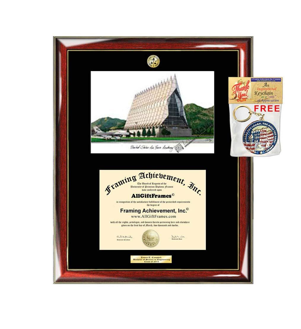 US Air Force Academy Diploma Frame School Lithograph Major Logo Graduation Degree Display USAF Certificate Graduate Gift University Diploma Frames
