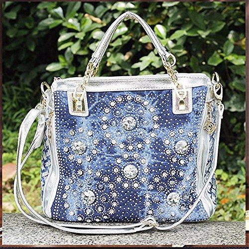 Mujer mujer moda bolso bolsa bolsa remache tejida cuarteto personalidad vertical único bolso, 30*12*29cm,B A