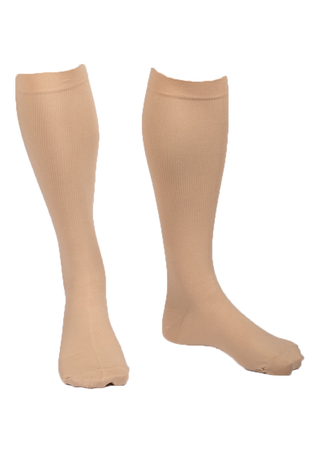 EvoNation Men's USA Made Graduated Compression Socks 15-20 mmHg Moderate Pressure Medical Quality Knee High Orthopedic Support Stockings Hose - Best Comfort Fit, Circulation, Travel (Large, Tan)