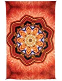 Zest For Life Orange Kaleidoscope Digital Print Tapestry Tablecloth Beach Sheet Wall Art Huge 53X88 Inches