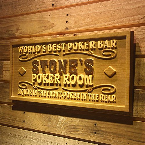Personalized Wood Poker Sign - ADVPRO wpa0119 Name Personalized Poker Room Casino Wine Bar Wood Engraved Wooden Sign - Standard 23