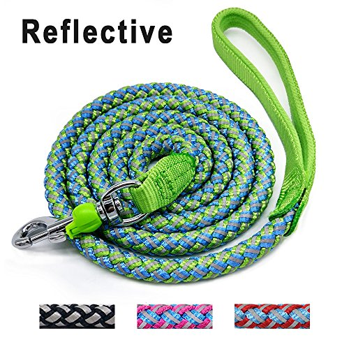 Mycicy Mountain Climbing Rope Dog Leash - 6 foot Reflective Nylon Braided Heavy Duty Dog Training Leash for Large and Medium Dogs Walking Leads (6ft, Green)