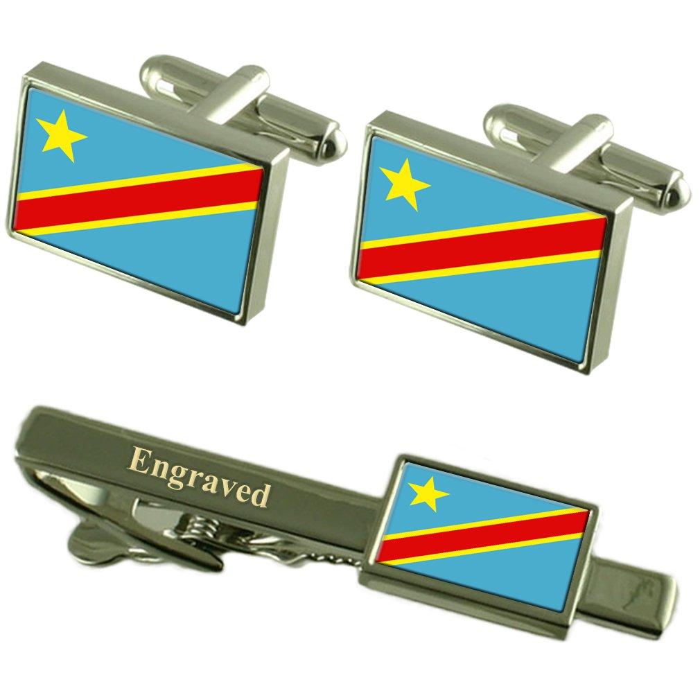 Select Gifts Za/ïre Flag Cufflinks Engraved Tie Clip Matching Box Set