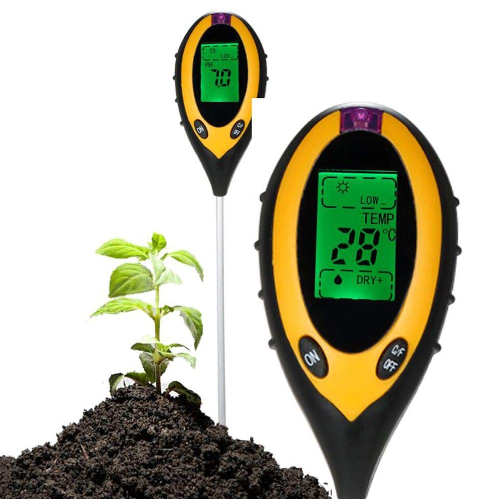 Yongrow Soil Tester, 4 in 1 LCD display Essential Gardening Tool, Test Moisture, PH Value, Temperature and Environment Sunlight Intensity for Garden, Farm, Lawn, Plants Outdoor Indoor