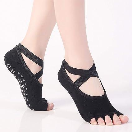 JUIANG Calcetines de Yoga Peinado Correa de algodón Verano Yoga Cinco Calcetines de Dedo Ballet Deportivo