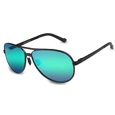 290dc082bbb VEITHDIA 2287 Large Horn Rimmed UV400 Adjustable Polarized Aviator  Sunglasses (green)
