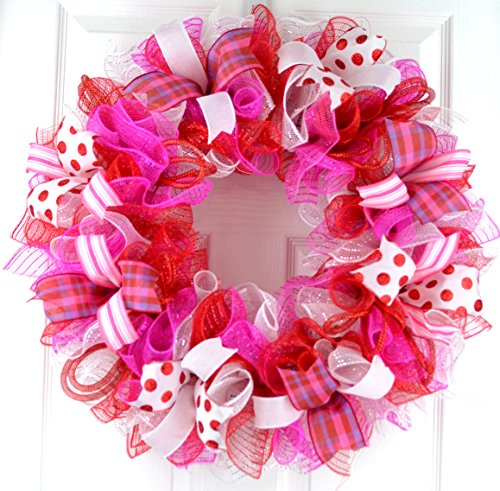Valentine's Day Mesh Door Wreath; Red Pink White - Outside Wreaths Valentines Day