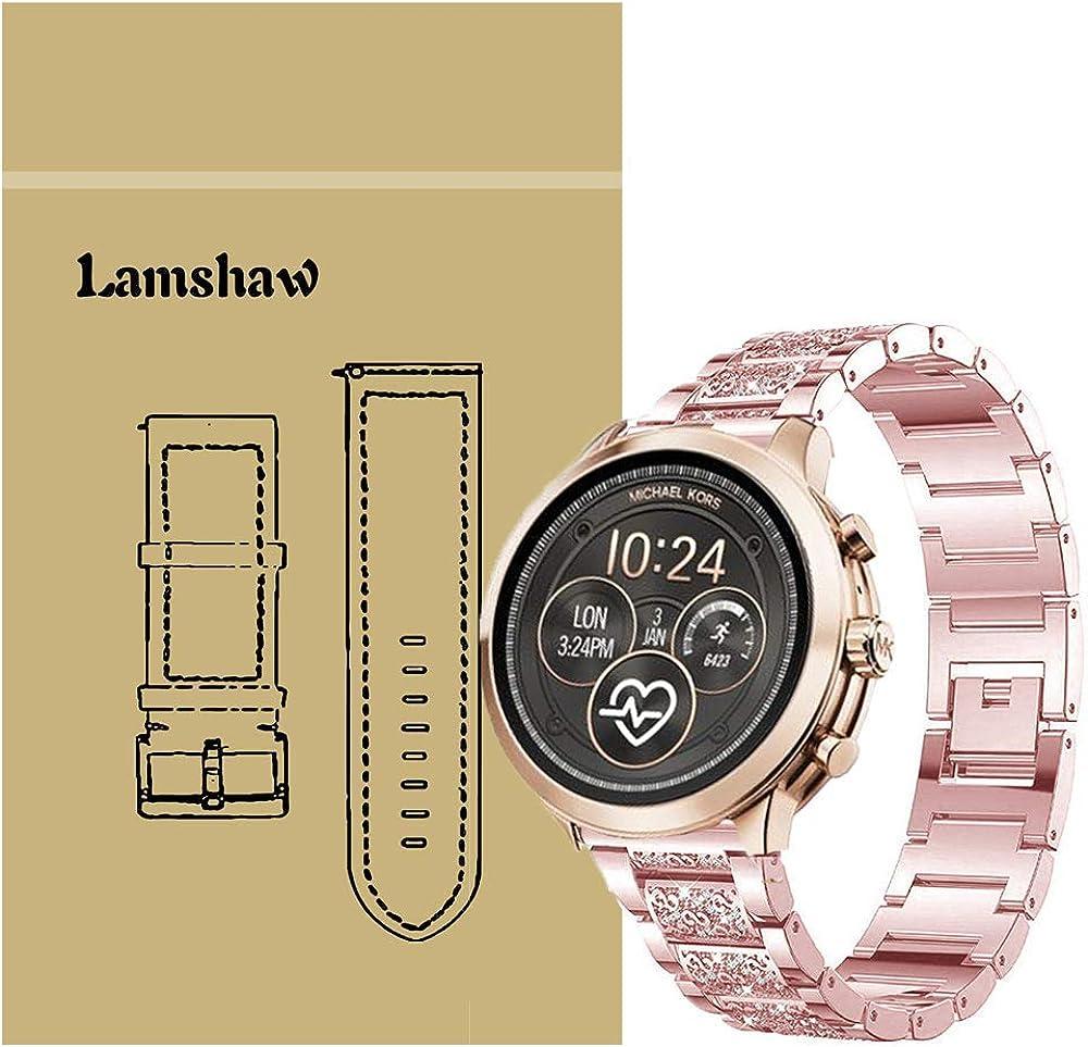 Ceston Diamante de imitación Metalica Acero Moda Correas para Reloj Inteligente Michael Kors Runway (18mm, Rosada): Amazon.es: Ropa y accesorios