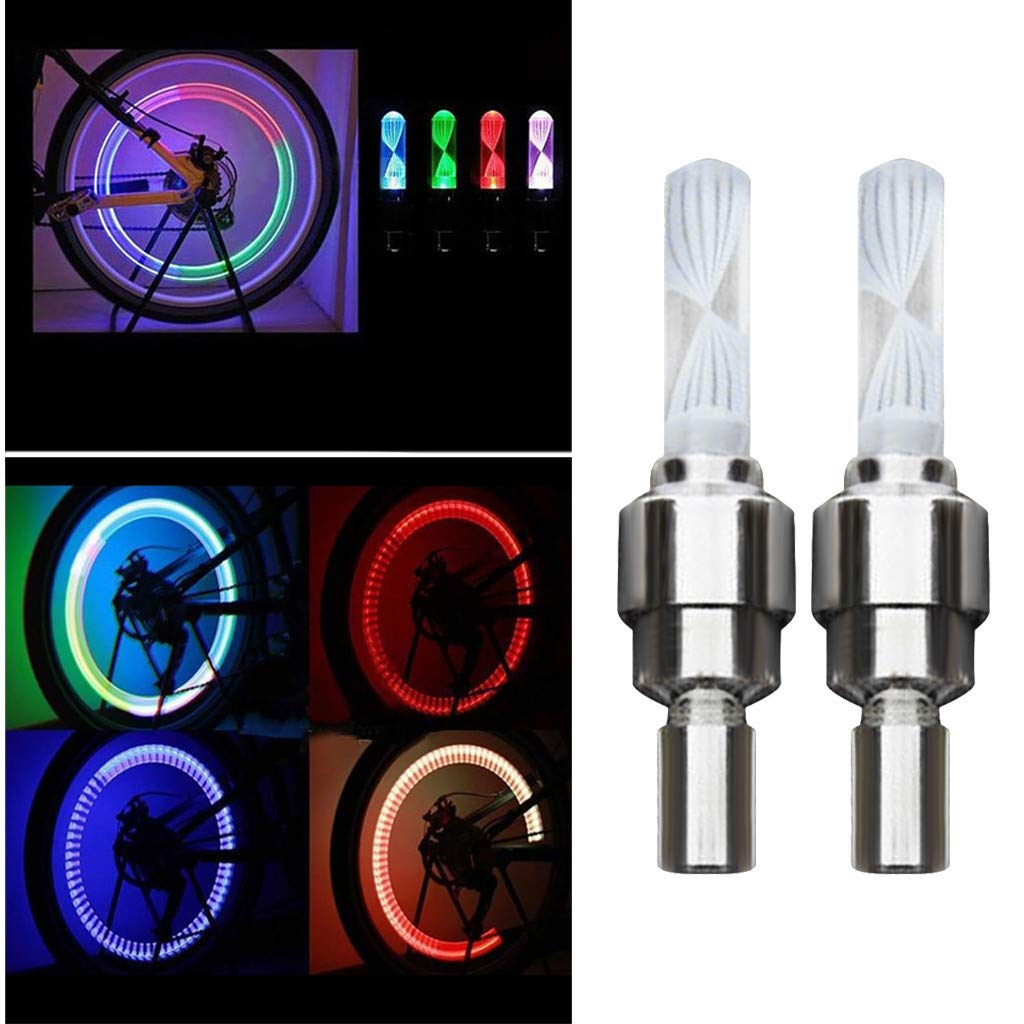 YunZyun LED Light Valve Dust Caps 7Color Light Bike Decoration for Bike and Bicycle (Silver)