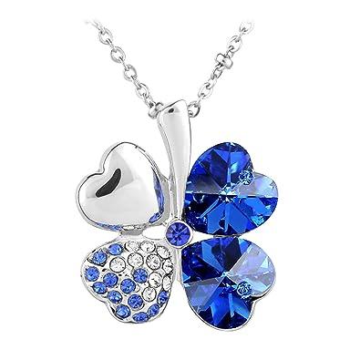 Amazon.com  Le Premium Four Leaf Clover Pendant Necklace Heart Shaped SWAROVSKI  Sapphire Blue Crystals  Sapphire Jewelry  Jewelry 4bb6a26ed