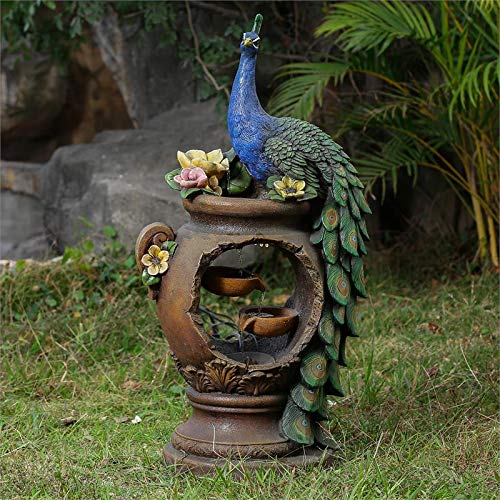 (Winsome House Peacock and Pot Polyresin Patio Fountain with LED Lights)