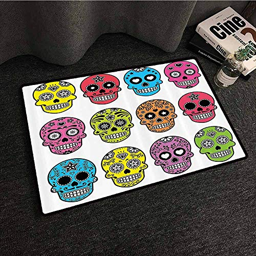 Skulls Decorations Collection Printed Door mat Ornate Colorful Traditional Mexian Halloween Skull Icons Dead Humor Folk Art Print Durable W20 xL31 -