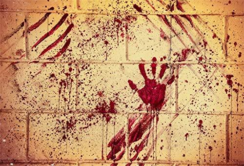 Leyiyi 10x8ft Gothic Happy Halloween Backdrop Vintage Abandoned House Grunge Graffiti Brick Wall Bloody Hand Print Evil Photography Background Horror Costume Carnival Photo Studio Prop Vinyl -
