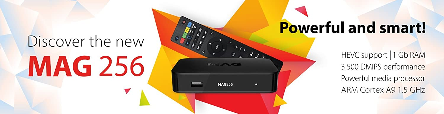 MAG 256 Receiver Original IPTV SET TOP BOX Multimedia Player H 265 HEVC  with UK 3 pin plug by Informir