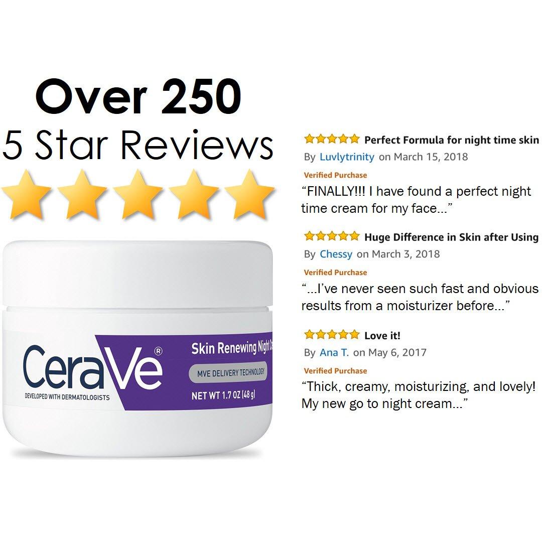 CeraVe Skin Renewing Night Cream - Multipurpose Night Cream, Face Moisturizer, Anti Aging Face Cream & Wrinkle Cream – Moisturizer for Face w Hyaluronic Acid & Niacinamide, 1.7 oz by CeraVe (Image #5)