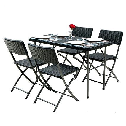 iKayaa - Conjunto de Muebles Plegables de Jardín (1pc Mesa + ...