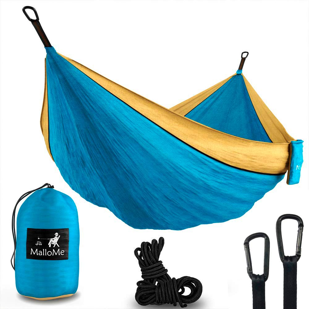 MalloMe Hammock Camping Portable Double Tree Hammocks - Outdoor Indoor 2 Person Beach Accessories - Backpacking Travel Equipment Kids Max 1000 lbs Breaking Capacity - Two Carabiners Free by MalloMe