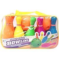 Foxom Bowling Enfant Jeu de Quilles Plastique, Bowling Jouet intéressant pour Enfant bebe-10 Bowlings 2 Boules à Frapper,Sac à Grande Taille -Jeu De Plein Air