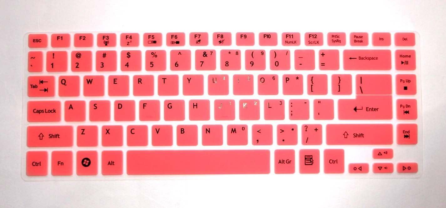 BingoBuy Semi-Pink Silicone Keyboard Protector Skin Cover for ACER Aspire E1-472, E1-472G, E1-472P, E1-470P, E14, E5-411, E5-471G, ES1-511, R7-571, R7-571G, R7-572, V3-472P, 4830, 4830T, AS4830T, 3830, 3830T, AS3830T series (if your