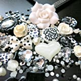 Beading Station BSI 3D DIY Bling Bling Cell Phone Case Resin Flat Back Kawaii Cabochons Decoration Kit/Set, Black and White