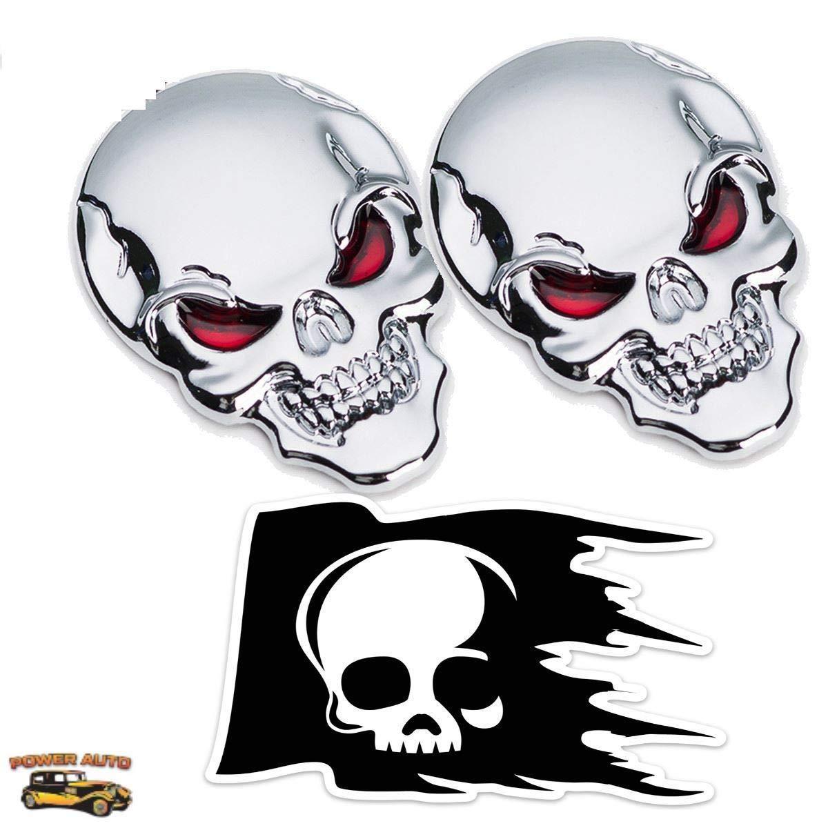 Skull head w red eyes emblems 3d zinc alloy peel n stick plus skull skeleton die cut thick durable vinyl weatherproof decal sticker 2 silver 1 decal