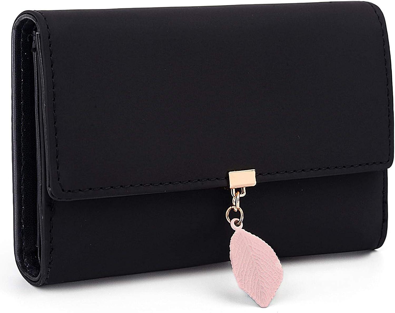 UTO Wallet for Women PU Leather Card Holder Organizer Leaf Pendant Zipper Coin Purse Medium 821