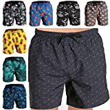 Fort Isle Mens Stretch Swim Trunks - XL - Blue Geometric - Quick Dry 4-Way Stretch - Bathing Suit