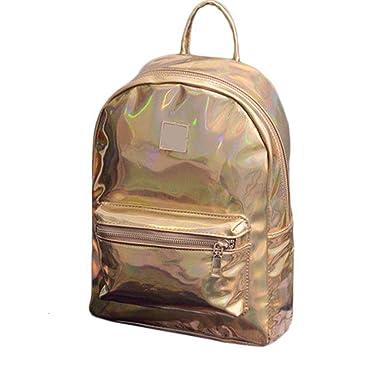 c18b053700 meizu88 Women Fashion Faux Leather Zipper Backpack Travel Shoulder School  Hiking Bag (Gold)  Amazon.co.uk  Clothing