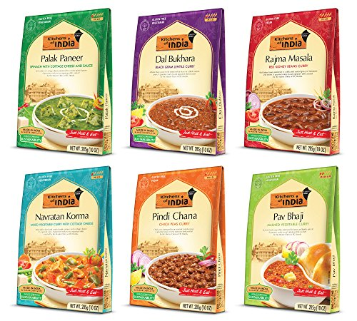 Kitchens of India  Heat &  Eat,  Dinner Variety Pack, 10 Ounce Boxes (Pack of 6) (Curry Vegetarian)