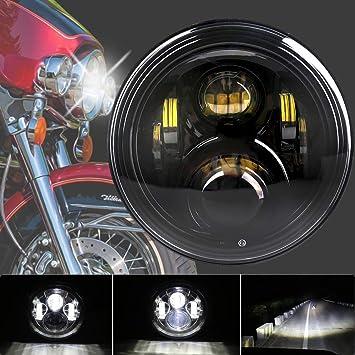 For Harley 7 INCH LED HEADLIGHT BLACK HALO 2014 ROAD KING STREET GLIDE