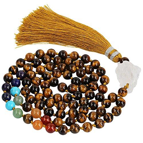 (SUNYIK 7 Chakra Stone Buddhist Bracelet,Paryer Beads Necklace Strand for Meditation,Tiger's Eye)