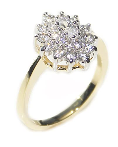 Ah! Jewellery Gorgeous And Glamorous! 0.40ct Two Tone Lab Created Diamonds Ring. 3.75mm Centre Stone. 3.5gr Total Weight. Fantastic Quality. RXyfVAj