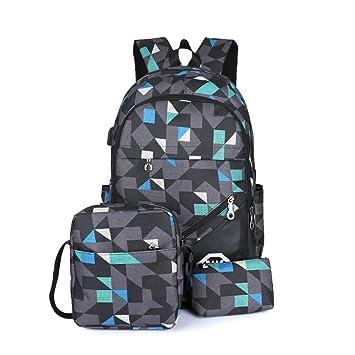Mochila escolar (3 piezas), bolso de escuela de los adolescentes, bolso de la mochila de la cartera de la computadora portátil para niños por Beatie: ...