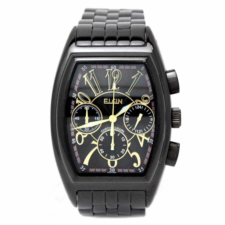 c00f6d9cca [エルジン]ELGIN 腕時計 日本製ムーブメント トノー型 ブラックxブラック FK1215B-B メンズ B00KQ8NL3E クロノグラフ- メンズ腕時計